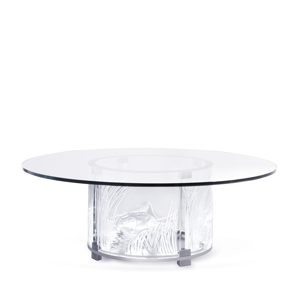 3 lionnes lighted table clear crystal chrome finish for Table vibrante